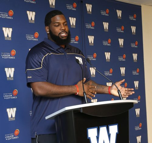 Winnipeg Blue Bombers offensive lineman Stanley Bryant at the news conference at Investors Group Field Monday morning. Ed Tait story. Wayne Glowacki/Winnipeg Free Press March 16 2015
