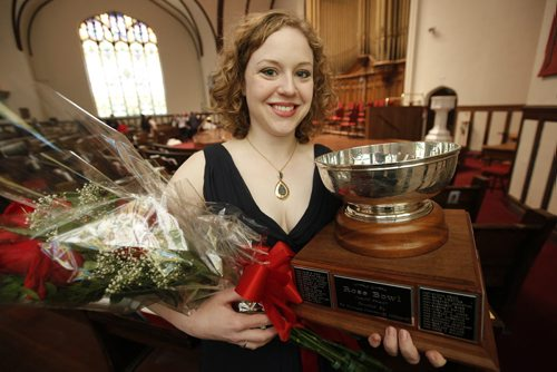 March 22, 2015 - 150322  -  Jillian Bonner won the Rose Bowl at the Winnipeg Music Festival. Bonner was photographed after the Gala Concert in Westminster United Church Sunday, March 22, 2015. John Woods / Winnipeg Free Press