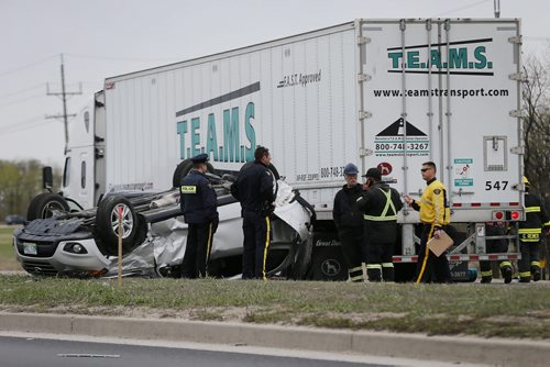 May 10, 2015 - 150510  -  Emergency personnel were called to a five vehicle collision on the Perimeter just east of St. Anne's Saturday, May 10, 2015. Several people were taken to hospital with non-life threatening injuries. West bound lanes were closed for several hours. John Woods / Winnipeg Free Press