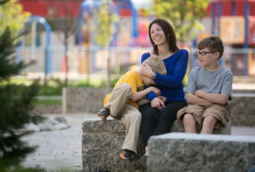 Mom Kerry Macdonald with her sons Levi (Ziggy) Ratchinsky, on the left, and Liam Ratchinsky. Levi, 6, and Liam, 10, go to Earl Grey School in Fort Rouge. 150522 - Friday, May 22, 2015 - (Melissa Tait / Winnipeg Free Press)