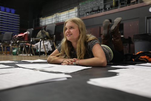 2017 Project:    GlenLawn Collegiate students (formerly Windsor School students) taking part in the 2017 project finish up their 2nd year in high school this year with many new challenges and changes.  Naomi organizes music sheets in music class.  See Doug Speirs story.   June 04, 2015 Ruth Bonneville / Winnipeg Free Press