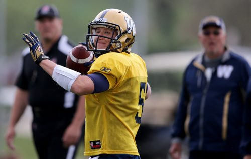 Winnipeg Blue Bombers' quarterback Drew Willy (5) during practice at the University of Manitoba, Saturday, June 6, 2015. (TREVOR HAGAN/WINNIPEG FREE PRESS)