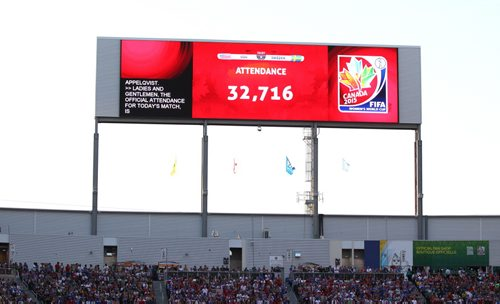 The attendance for game #20, USA vs Sweden is displayed on the huge jumbotron during the game at FIFA Women's World Cup game in Winnipeg Friday.   June 13, 2015 Ruth Bonneville / Winnipeg Free Press