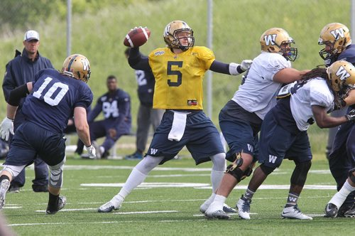 Quarterback Drew Willy (5) during Winnipeg Blue Bombers practice Monday morning.  150615 June 15, 2015 MIKE DEAL / WINNIPEG FREE PRESS