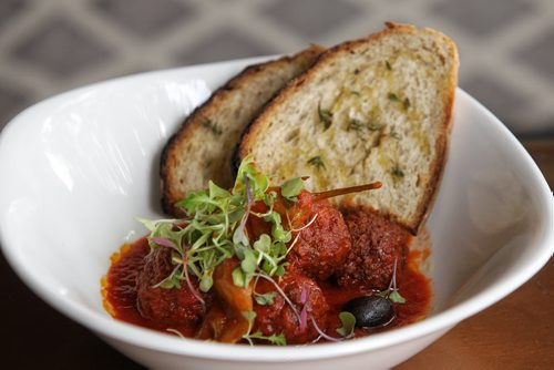 Nicolino's restaurant dish: Polpette with sundried olives and spicy peperoncini.  150623 June 23, 2015 MIKE DEAL / WINNIPEG FREE PRESS