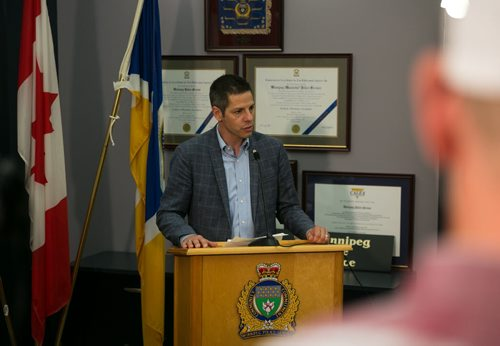 Mayor Brian Bowman speaks at Winnipeg Police Service press conference on law firm bombing. Police have charged Guido Amsel two counts of attempted murder in relation to the bomb that detonated at a law firm injuring lawyer Maria Mitousis. Police have the city on high alert, as there may be additional packages.   July 06, 2015 - MELISSA TAIT / WINNIPEG FREE PRESS