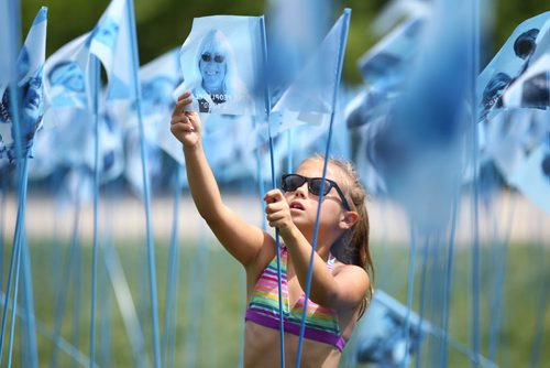 Cool Gardens:  Eight-year-old Isobel MacLean looks through hundreds of photographs of people placed on blue flags at one of the Cool Gardens art exhibit titled, Cool Citizen Wednesday at the Forks.   See Jessica Botelho-Urbanski's story.  July 15,, 2015 Ruth Bonneville / Winnipeg Free Press