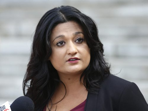 Rana Bokhari, Manitoba Liberal Leader announces her plans for Electoral Reform to media Friday outside the Manitoba Legislative Bld. Bruce Owen story. Wayne Glowacki / Winnipeg Free Press August 21 2015
