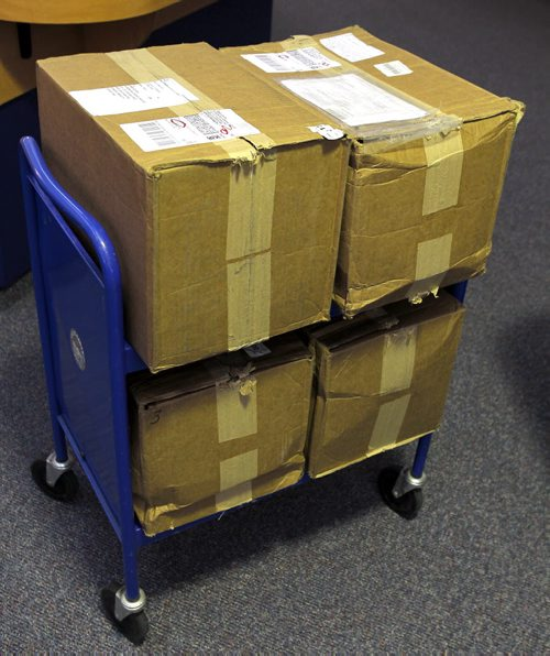 The Archives of Manitoba has accepted a donation of historic personal records documenting the making of the Hudson's Bay Company's 1920 film, Romance of the Far Fur Country. Here are various photos of what was at the Manitoba archives today. These are the boxes sent to them. BORIS MINKEVICH / WINNIPEG FREE PRESS  OCT 1, 2015