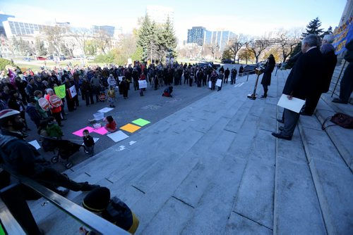 More than 200 anti-racism and anti-Islamaphobia protestors gathered outside the Manitoba Legislative Building, Saturday, October 17, 2015. (TREVOR HAGAN/WINNIPEG FREE PRESS)