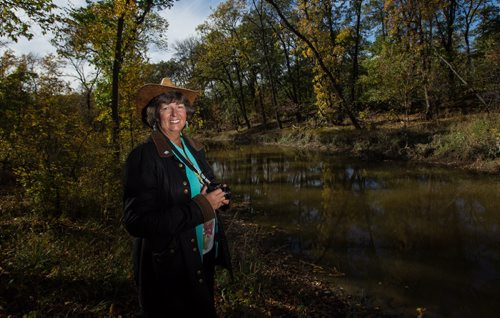 Michelle Kading of Save the Seine always has her camera handy when she walks along the Seine River in Winnipeg. 151001 - Thursday, October 01, 2015 -  MIKE DEAL / WINNIPEG FREE PRESS