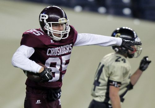 HIGHSCHOOL FOOTBALL AAA - Potter (AAA) semi-final game played at IGF. Garden City Fighting Gophers vs St Paul`s Crusaders. #85 Morgan Wokes celebrates a touchdown. BORIS MINKEVICH / WINNIPEG FREE PRESS  NOV 6, 2015