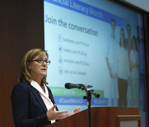 """Jane Rooney, Financial Literacy Leader with the Financial Consumer Agency of Canada speaks at Great-West Life Assurance Company about financial literacy. Her presentation is entitled """"10 Healthy Habits of Consumer Financial Management."""" Geoff Kirbyson story Wayne Glowacki / Winnipeg Free Press Nov. 19   2015"""