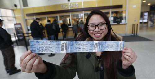 Tickets went on sale today for the Justin Bieber concert in the MTS Centre on June 11 and Camille Coronado managed to get a ticket for herself and friends at the MTS Centre Friday morning.  Wayne Glowacki / Winnipeg Free Press Nov. 20   2015