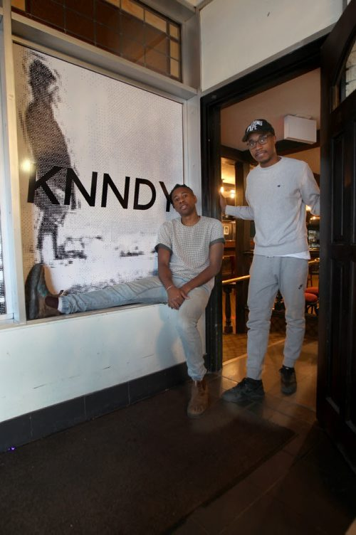 Calvin Joseph, left, and Anthony Sannie are promoting The Knndy Pub at 330 Kennedy St -  This is the former location of the old Lo Pub location- See Erin Lebar–Dec 03, 2015   (JOE BRYKSA / WINNIPEG FREE PRESS)