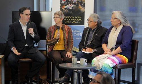 Traditional knowledge and the environment roundtable at Free Press News Café. (L-R) Dan Lett and Alexandra Paul talks to two aboriginal Elders about traditional knowledge and the environment. Elders Dave Courchene and Katherine Whitecloud spoke with Dan and Alexandra about the importance of recognizing First Nations traditional knowledge when discussing climate change and the environment. BORIS MINKEVICH / WINNIPEG FREE PRESS DEC 11, 2015