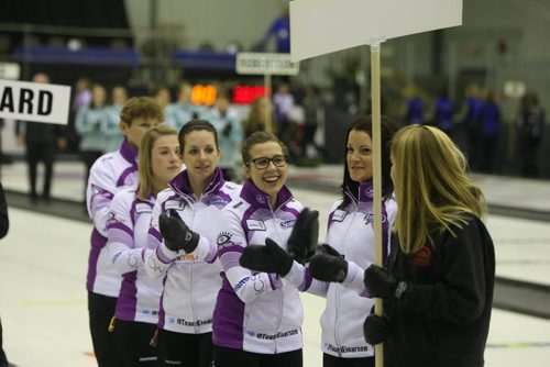 BEAUSEJOUR, MB - Team Einarson. Local favourite 3rd from the right Selina Kaatz. Kerri Einarson is second from the right. Opening ceremonies  at the Sun Gro Centre for The Scotties Tournament of Hearts Wednesday evening. BORIS MINKEVICH / WINNIPEG FREE PRESS January 20, 2016