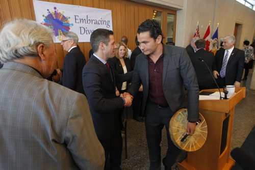 WINNIPEG, MB - Together with individuals and community leaders, Mayor Brian Bowman will reflect on the year following Winnipeg being labeled the most racist city in Winnipeg by Maclean's magazine, and will outline further steps to build reconciliation, diversity, and inclusion. Justice Murray Sinclair, Mayor Brian Bowman, and Wab Kinew.  BORIS MINKEVICH / WINNIPEG FREE PRESS January 22, 2016