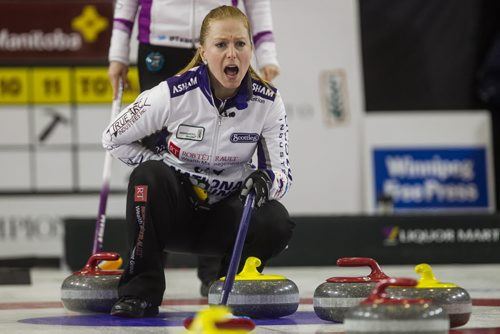 Skip Kristy McDonald yells as instructions as a rock is thrown against Team Einarson during the finals of the Scotties Tournament of Hearts in Beausejour, Manitoba, Sunday afternoon. 160124 - Sunday, January 24, 2016 -  MIKE DEAL / WINNIPEG FREE PRESS