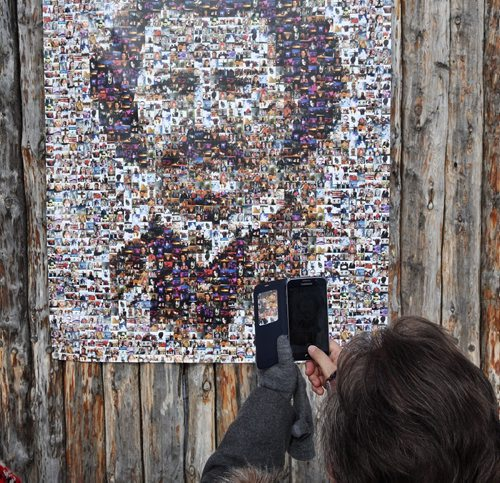 MIKE DEAL / WINNIPEG FREE PRESS The Louis Riel Family Mosaic hangs on the wall of Fort Gibraltar. Created by photos sent to the Festival by the general public the giant Louis Riel Family Mosaic was unveiled on Louis Day 160215 February 15, 2016