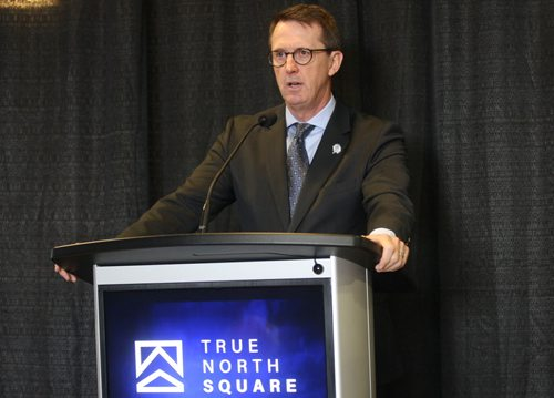 JOE BRYKSA / WINNIPEG FREE PRESS  Mark Chipman- Chairman True North Sports and Entertainment at True North Square news conference in MTS Centre, February 24, 2016.( See Murray McNeil story)