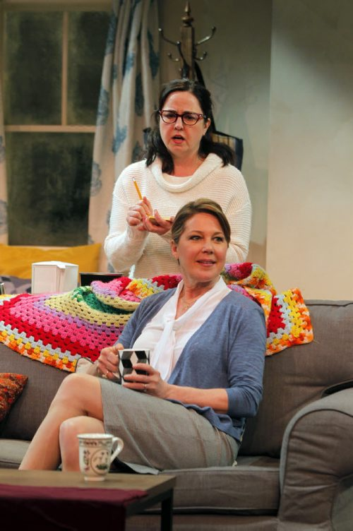 BORIS MINKEVICH / WINNIPEG FREE PRESS The Tom Hendry Warehouse season ends on a high note with Matt Murray's Toronto Fringe hit MYTH OF THE OSTRICH, which offers a hilarious and heartfelt look at two mothers with polar-opposite parenting styles, values and beliefs from March 10-26. In white is actress Krista Jackson as Holly Mills and Jennifer Lyon as Pam Steele. Photo taken March 08, 2016