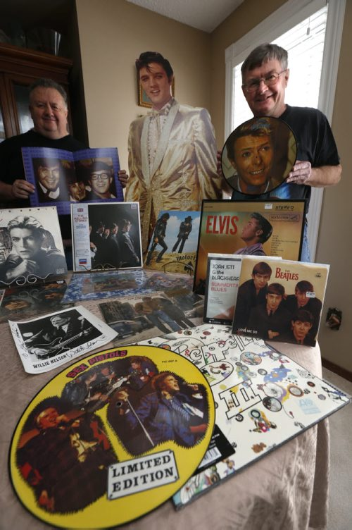 WAYNE GLOWACKI / WINNIPEG FREE PRESS  49.8 Intersection story on the 16-year history of Rockin' Richard's Record & CD Show & Sale.From right, Richard Sturtz, a cutout of Elvis and Alex Reid with some of their music collectables on Richard's dining room table. Dave Sanderson story.  March 10 2016