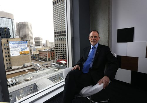 WAYNE GLOWACKI / WINNIPEG FREE PRESS  Robert Bell, Executive Director & co-founder, Intelligent Community Forum spoke at the Winnipeg Chamber of Commerce luncheon in the Alt Hotel Winnipeg Wednesday as part of his visit to Winnipeg to assess the city's bid to become the Intelligent Community of the Year for 2016. Martin Cash story.  April 6  2016