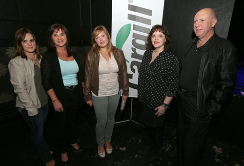 JASON HALSTEAD / WINNIPEG FREE PRESS  L-R: Cindy Frost, Cathy Jowett, Amy Copper, Wendy Zilke and James Zilke of at the Fort Garry Women's Resource Centre's seventh annual fundraiser at the Park Theatre April 14, 2016. Cargill Ag Horizons was a sponsor of the event. (See Social Page)