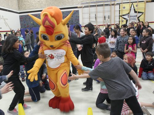 JOE BRYKSA / WINNIPEG FREE PRESS  The Canada Games mascot was introduced to lucky students at Dufferin School Tuesday- The Canada Games are holding a contest name the mascot from May 4 to 27 , 2016- The Games are in Winnipeg July 28-Aug 13, 2016.  May 04 , 2016.(See Ashley Prest)