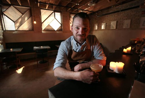 """PHIL HOSSACK / WINNIPEG FREE PRESS - Josey Krahn poses in his """"Bar at Forth"""" Friday afternoon, just a couple blocks from his brother's estabishment.  See Bart's story. May 6, 2016"""