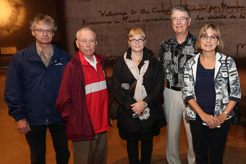 JASON HALSTEAD / WINNIPEG FREE PRESS  L-R: Bill Heywood, Garry Parker, Patti Ling, Paul Wheatley and Nancy Wheatley take part in the University of Toronto Alumni Group (Winnipeg Chapter) tour of the Canadian Museum for Human Rights on June 4, 2016. (See Social Page)