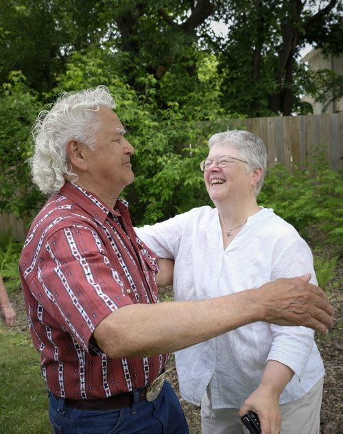 ZACHARY PRONG / WINNIPEG FREE PRESS  Herb Wells and Lorraine Iverach dance during a ceremony marking the bicentennial of the Battle of Seven Oaks on June 19, 2016. Wells and Iverach had a chance encounter before the ceremony and discovered they share a great-great-great grandfather who fought in the battle. (See story by Aidan for details)