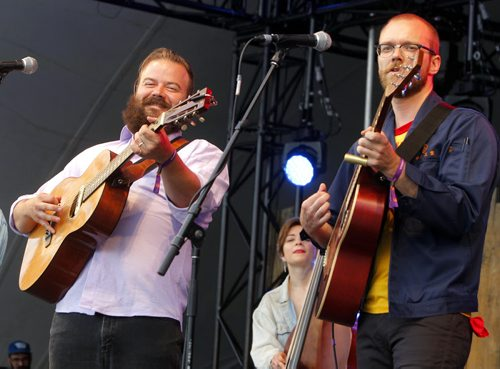 BORIS MINKEVICH / WINNIPEG FREE PRESS WINNIPEG FOLK FESTIVAL 2016 - The Crooked Brothers perform the first band of the opening night at Folk Fest Main stage in Birds Hill Park.  L-R Matt Foster and Darwin Baker. July 7, 2016
