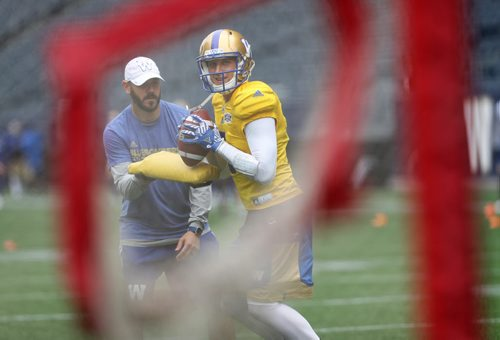 TREVOR HAGAN / WINNIPEG FREE PRESS Winnipeg Blue Bombers QB coach, Buck Pierce works with quarterback, Drew Willy, as he looks to pass into the target net, during practice, Sunday, July 10, 2016.