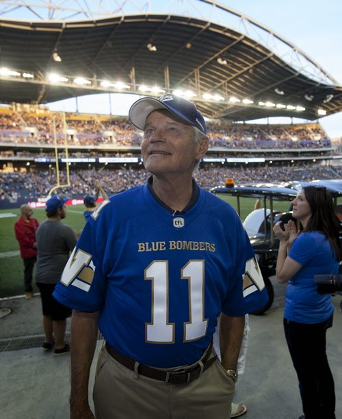 RUTH BONNEVILLE / WINNIPEG FREE PRESS  All-star quarterback Ken Ploen who started with The Winnipeg Blue Bombers in 1957,  was inducted into the Ring of Honour during halftime  of Bombers hosting Eskimos game at Investors Group Stadium Thursday night.    July 14, 2016