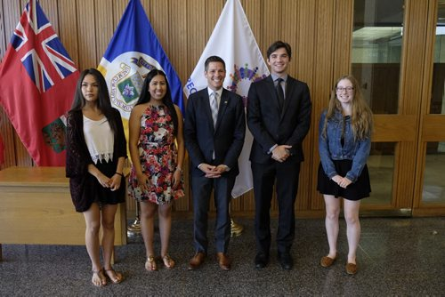 ZACHARY PRONG / WINNIPEG FREE PRESS  Mayor Brian Bowman awarded five recipients the inaugural Mayor's Scholarship for Community Leadership on July 15, 2016. Each of the five winners will receive a one thousand dollar scholarship in recognition of their efforts in the community. From left to right, Kakeka Thundersky, Kayla Lariviere, Mayor Brian Bowman, Tommy Semchysen and Carly McFall. Nina Lam, another recipient, was not in attendance.
