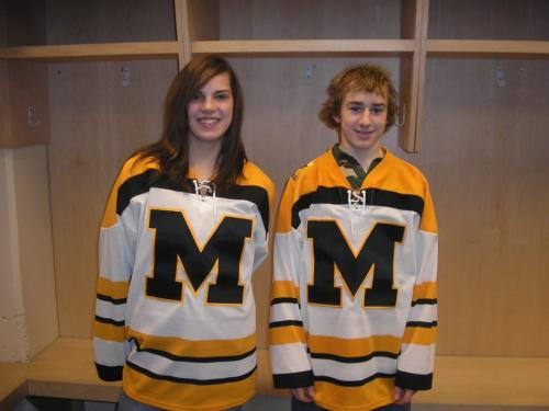 These young players are Halli Krzyzaniak of Neepawa (female) and Corey Messner (male) of Manitou who are Manitoba's representatives in the first Hockey Canada Canadian Skills Challenge on May 3 in Quebec City.   Photo credit to Hockey Manitoba ashley prest story winnipeg free press
