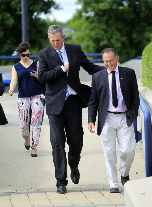 PHIL HOSSACK / WINNIPEG FREE PRESS -   Premier Brian Pallister embraces local MLA Alan Lagimodier as they arrive at a Joint Federal, Municipal and Provincial announcment in Selkirk Friday morning. Three levels of government are joining forces to improve water quality in the Lake Winnipeg Watershed.  See Bill Redekop story. August 5, 2016