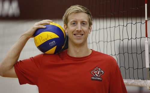"""WAYNE GLOWACKI / WINNIPEG FREE PRESS     Chris Voth, a local professional volleyball player at practice in the multiplex at St. Paul's High School.  A European professional¤club withdrew a contract offer recently¤be cause he is gay and the club said they had """"concerns"""".   Ashley Prest story  August 10 2016"""