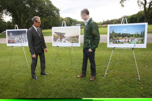 JOE BRYKSA / WINNIPEG FREE PRESSAssiniboine Park Conservancy (APC) announced today the construction of Canada's Diversity Gardens – APC Project Director Gerald Dieleman, right, and Corbett Architecture's Doug Corbett look over the plans on the project site-  Sept 08, 2016 -(See Story)
