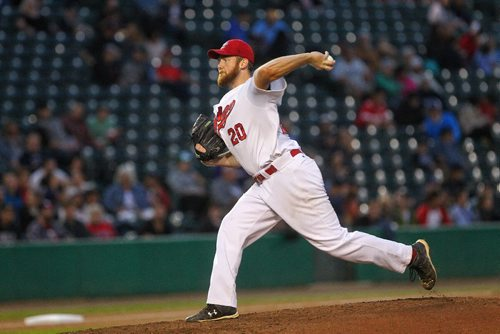 MIKE DEAL / WINNIPEG FREE PRESS  Winnipeg Goldeyes' starting pitcher Kevin McGovern (20) during game two of the American Association Championship series against the Wichita Wingnuts Thursday evening at Shaw Park.   160915 Thursday, September 15, 2016