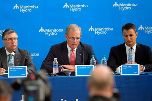 BORIS MINKEVICH / WINNIPEG FREE PRESS Manitoba Hydro Bipole III press conference at Manitoba Hydro Place at 360 Portage Avenue.  (L-R) Manitoba Hydro President & CEO Kelvin Shepherd, Manitoba Hydro-Electric Board Chairman H. Sanford Riley,  and Manitoba Hydro-Electric Board Vice-Chair Steve Kroft sit at the table in the press conference. Sept. 21, 2016