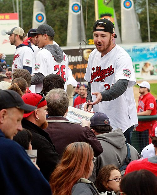 PHIL HOSSACK / WINNIPEG FREE PRESS - CHAMPIONS - Winnipeg Goldeye pitcher Edwin Carl signs autographs for grateful fans at a fan appreciation evening at Shaw Park. The Goldeyes captured their third championship in franchise history on Monday with an 11-4 win over the Wichita Wingnuts in Game Five of the American Association Championship Series. See story.   September 21, 2016