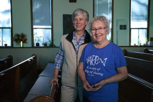 RUTH BONNEVILLE / WINNIPEG FREE PRESS  Faith Page: Story: Harrow United Church celebrates a century of helping their neighbourhood with community programs. Rev Teresa Moysey (left) and Shirley May chairperson for community programs. in sanctuary.    November 10, 2016