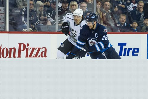 MIKE DEAL / WINNIPEG FREE PRESS Winnipeg Jets' Blake Wheeler (26)  on the breakaway while Los Angeles Kings' Jordan Nolan (71) tries to keep up during an afternoon NHL game at MTS Centre Sunday. 161113 - Sunday November 13, 2016