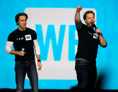 BORIS MINKEVICH / WINNIPEG FREE PRESS WE Day at the MTS Centre. Thousands of students from Manitoba came to take in the event. Craig Kielburger, left, and brother Marc Kielburger, right, on stage. Nov 18, 2016