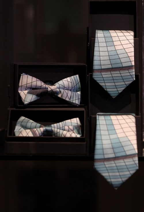 RUTH BONNEVILLE / WINNIPEG FREE PRESS  49.8 Threads CMHR gift shops unique items. Women's scarfs and men's ties including bow ties called - The Glass Cloud Collection designed from an image taken of the outside glass archetectural design of the museum.    November 19, 2016