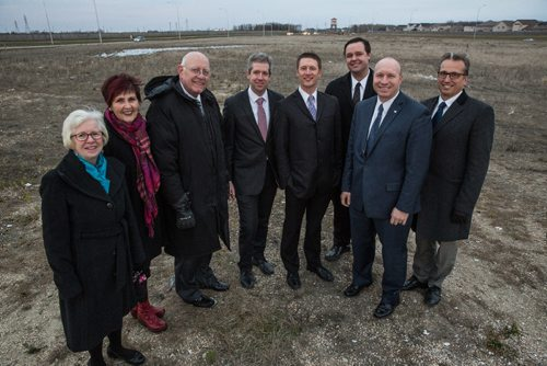 MIKE DEAL / WINNIPEG FREE PRESS The Church of Jesus Christ of Latter Day Saints is building a multi-million dollar temple on seven acres in south west Winnipeg. Members (from left) Cathy Smith, Coleen Anderson, Allan Robison, Ryan Smith, Chris Palmer, John Friesen, Josh Gruninger, and Richard Baronins. 161120 - Sunday November 20, 2016
