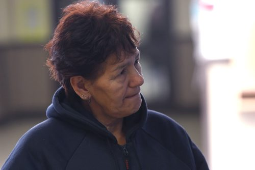 WAYNE GLOWACKI / WINNIPEG FREE PRESS  Marilyn Spence by the post office in the mall at the Peguis First Nation Monday, comments on the preliminary hearing held in the  Peguis Community Hall ,  Katie May story Dec. 12 2016